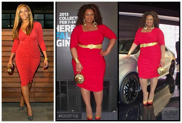 Beyonce Red Dress Collage
