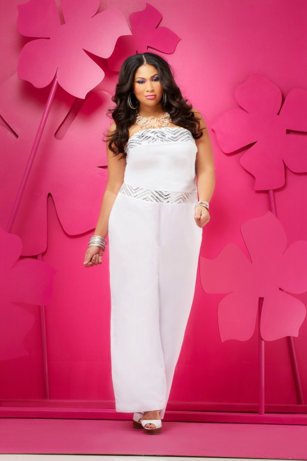Dressy Pantssuit in Elegant White. Ashley Stewart