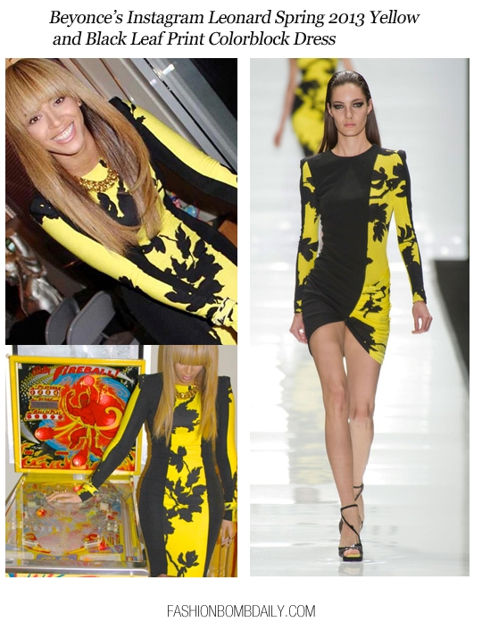 Wardrobe-Query-120412-Beyonce's-Instagram-Leonard-Spring-2013-Yellow-and-Black-Leaf-Print-Colorblock-Dress-