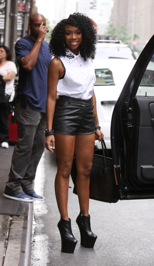 Brandy-new-york-city-giuseppe-zanotti-black-wedge-booties-celine-tote-leather-shorts