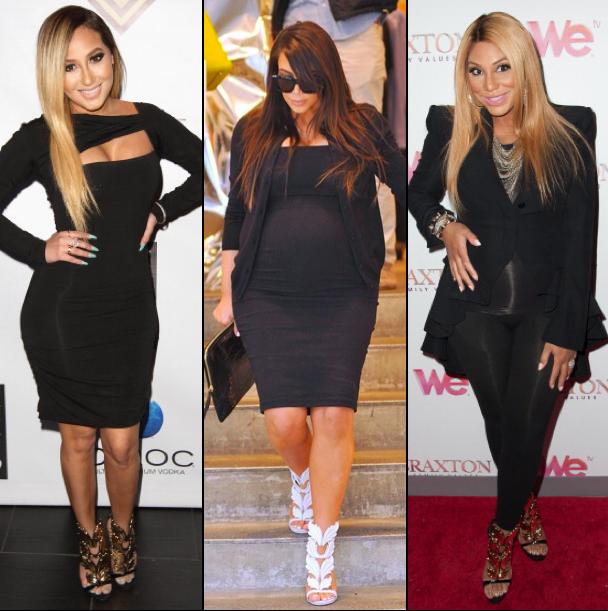 Adrienne-Bailon-Kim-Kardashian-and-Tamar-Braxton-in-Giuseppe-Heels