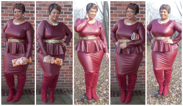 Burgundy Peplum Collage