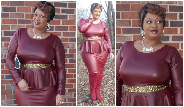 Burgundy Peplum Dress Collage