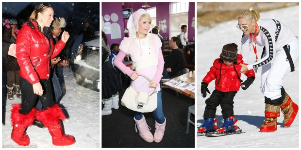 Celeb Moon Boots Collage