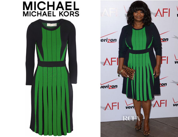 Octavia-Spencers-MICHAEL-Michael-Kors-Pleated-Stretch-Knit-Dress