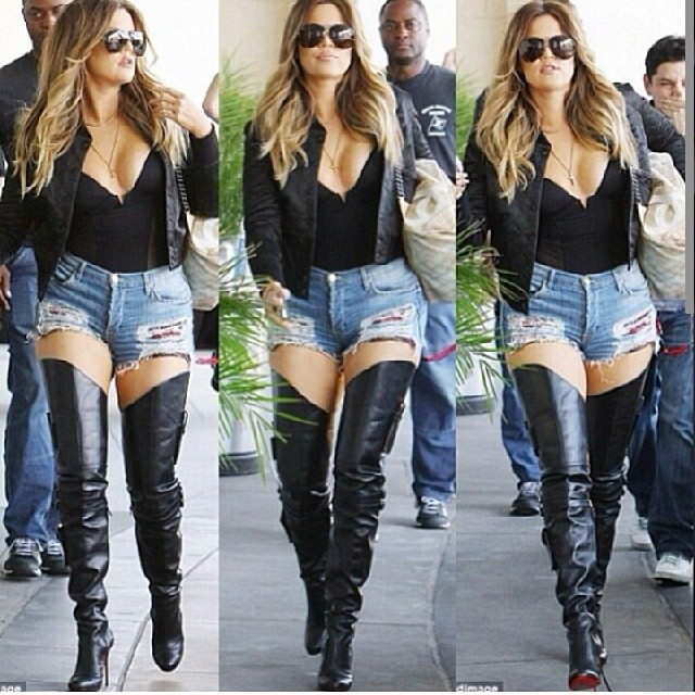 Shorts And Thigh High Boots