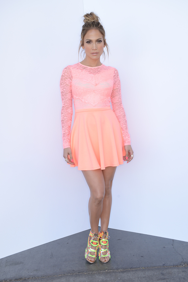 Jennifer-Lopezs-American-Idol-ASOS-Lace-Skater-Dress-and-Sophia-Webster-Neon-Phoebe-Sandals