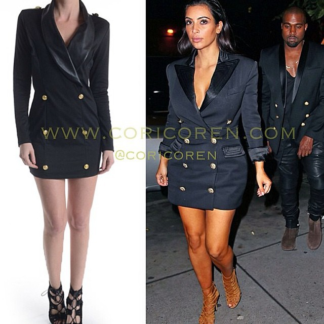 The Look For Less Kim Kardashians Tuxedo Dress Trendy Curves