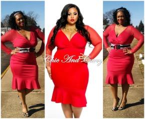 CC Red Mesh Mermaid Dress Collage