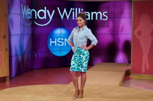 A model in Wendy Williams's floral skirt and top.