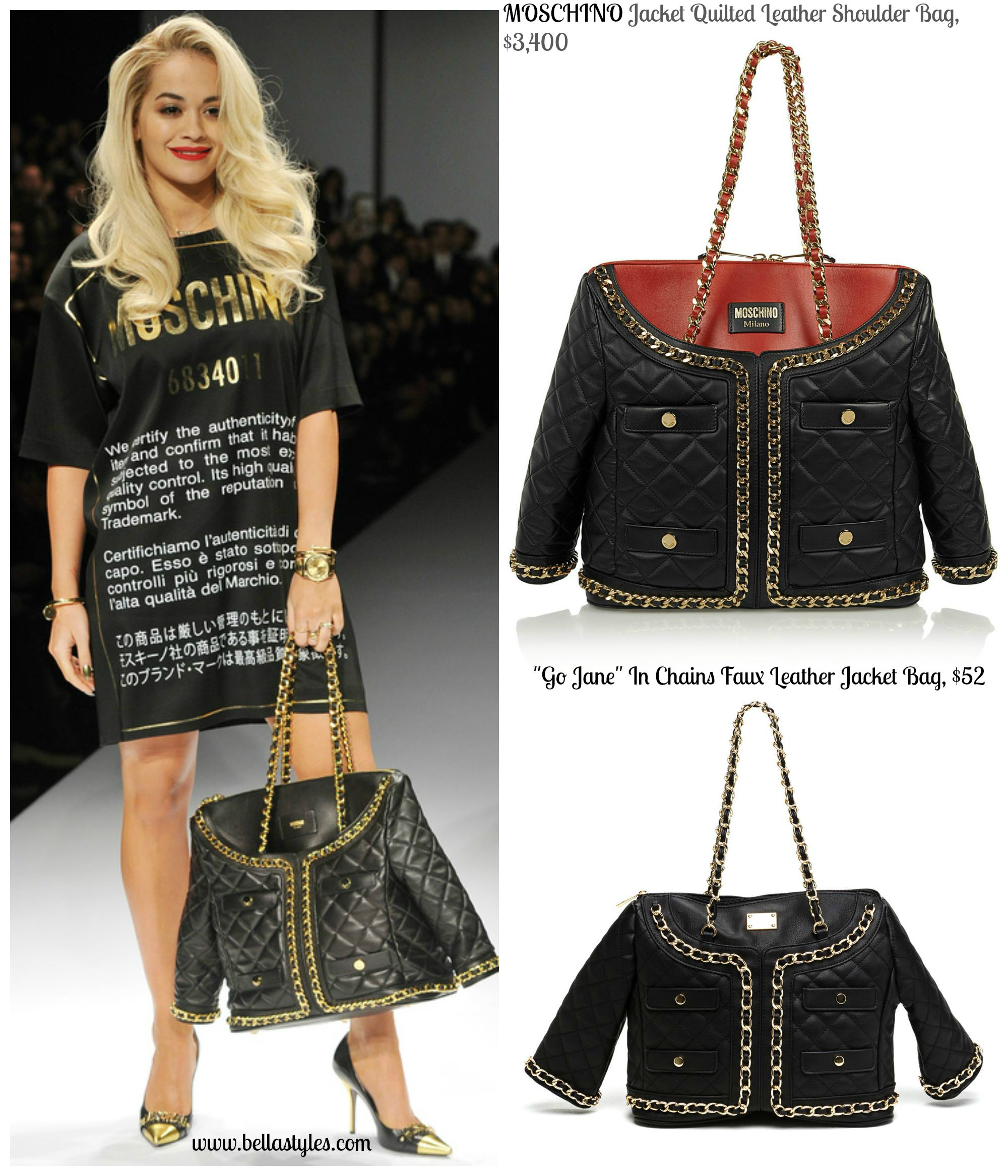 """c41dd4e7c The Look For Less: """"Moschino's Quilted Leather Jacket Handbag ..."""