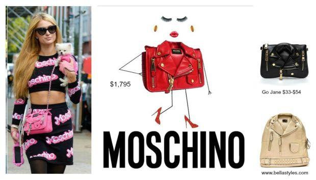 Paris Hilton in Moschino Biker Bag Collage
